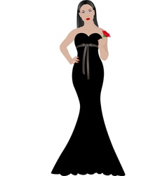 Woman in black dress vector
