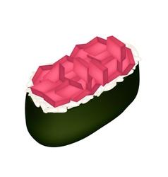 Tuna sushi or tuna nigiri isolated on white vector