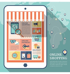 Retro business online shopping flat icons vector