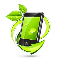 Green mobile phone vector