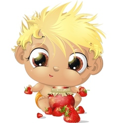 Child eating strawberries vector