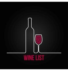 Wine bottle glass list design menu background vector