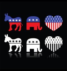 Usa political parties - democrats and republicans vector