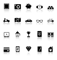 The useful collection icons with reflect on white vector