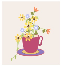 Cup of flowers vector