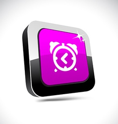Alarm-clock 3d square button vector