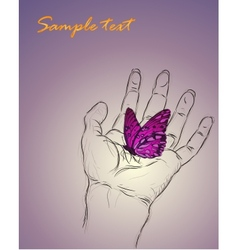 Background of a hand caring a butterfly vector