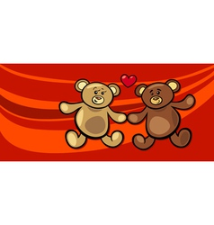 Teddy bears in love valentine card vector