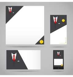 Male clothing suit card template vector