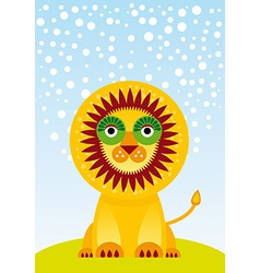 Funny cartoon lion on green grass and sky vector