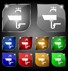 Washbasin icon sign set of ten colorful buttons vector