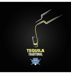 Tequila shot bottle glass menu design background vector