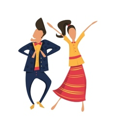 Hipsters dancing in retro clothes vector