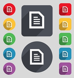 Text file document icon sign a set of 12 colored vector