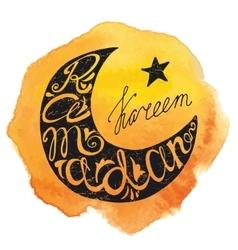 Ramadan kareem letteringmoon watercolor yellow vector
