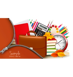 Background with school supplies and open zipper vector