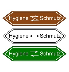 Direction sign hygiene and dirt vector
