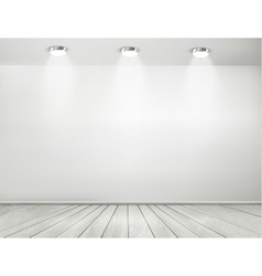 Grey room spotlights and wooden floor showroom vector