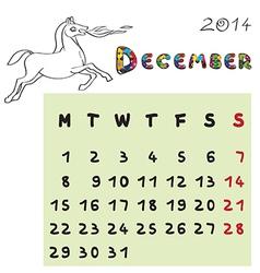 Horse calendar 2014 december vector