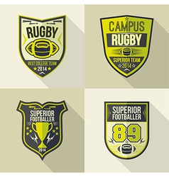 College best rugby team emblems vector