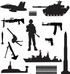 Silhouettes of armed forces vector