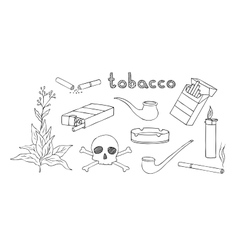 Tobacco and smoking set vector