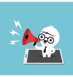 Business man with megaphone cartoon vector
