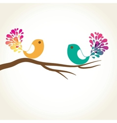 Cute greetings card with birds on a swing vector
