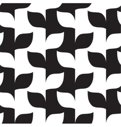 Seamless leaves in black and white pattern vector