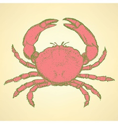 Sketch cute crab in vintage style vector