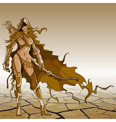 Woman warrior with bow and arrow vector