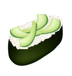Avocado sushi or avocado nigiri isolated on white vector