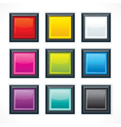 Empty colorful square buttons vector
