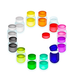 A set of colorful color paint jars vector