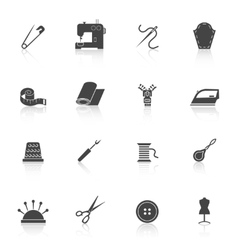 Sewing equipment icons set black vector