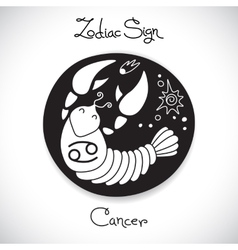 Cancer zodiac sign of horoscope circle emblem in vector