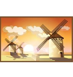 Windmills at sunset vector
