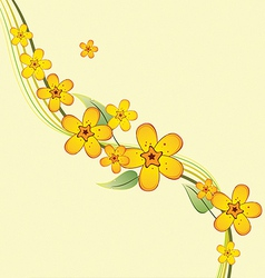 Bouquet of yellow flowers on a branch vector