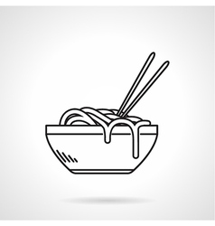 Noodles bowl black line icon vector