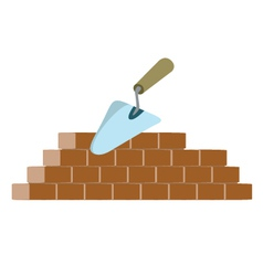 Bricks and trowel vector