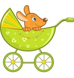 Baby animal in stroller vector