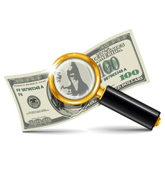 Magnifier and money vector
