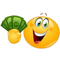 Emoticon with dollars vector