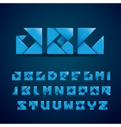 Blue origami alphabet vector
