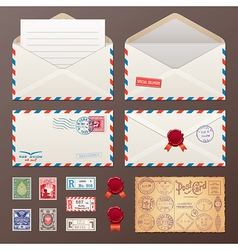 Mail envelope stickers stamps and postcard vector