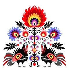 Folk embroidery with turkeys vector