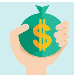 Hand with dollar money flat design vector