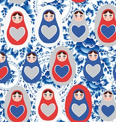 Seamless pattern blue red gray russian dolls on a vector