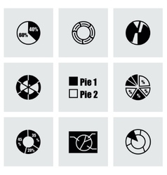 Pie chart icon set vector
