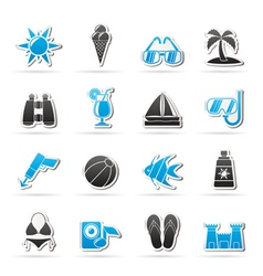 Beaches and summer icons vector